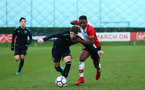 SOUTHAMPTON, ENGLAND - JANUARY 06:  Jonathan Afolbai (right) during the U18 PL match between Southampton FC and West Ham United FC at Staplewood Complex on January 6, 2018 in Southampton, England. (Photo by James Bridle - Southampton FC/Southampton FC via Getty Images)