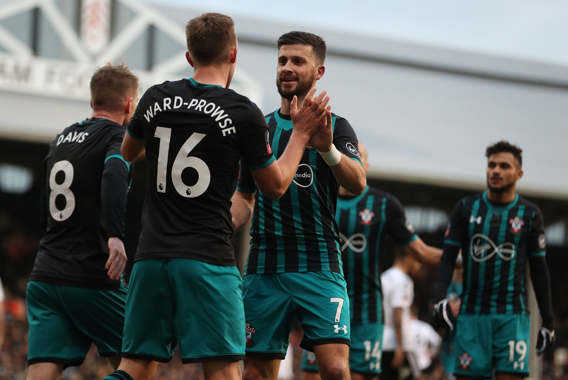 LONDON, ENGLAND - JANUARY 06: Southampton's James Ward-Prowse celebrates with Shane Long(R) after putting his side 1-0 up during the Emirates FA Cup third round match between Fulham FC and Southampton FC at Craven Cottage on January 6, 2018 in London, England. (Photo by Matt Watson/Southampton FC via Getty Images)