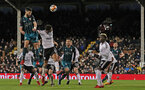 LONDON, ENGLAND - JANUARY 06: Shane Long of Southampton wins a header during the Emirates FA Cup third round match between Fulham FC and Southampton FC at Craven Cottage on January 6, 2018 in London, England. (Photo by Matt Watson/Southampton FC via Getty Images)