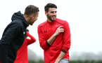 SOUTHAMPTON, ENGLAND - JANUARY 11: Wesley Hoedt (middle) during a Southampton FC training session at Staplewood Complex on January 11, 2018 in Southampton, England. (Photo by James Bridle - Southampton FC/Southampton FC via Getty Images)