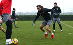 SOUTHAMPTON, ENGLAND - JANUARY 11: Cédric (right) during a Southampton FC training session at Staplewood Complex on January 11, 2018 in Southampton, England. (Photo by James Bridle - Southampton FC/Southampton FC via Getty Images)