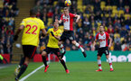 WATFORD, ENGLAND - JANUARY 13: James Ward-Prowse of Southampton wins the ball in the air during the Premier League match between Watford and Southampton at Vicarage Road on January 13, 2018 in Watford, England. (Photo by Matt Watson/Southampton FC via Getty Images)