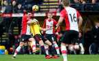 WATFORD, ENGLAND - JANUARY 13: Pierre-Emile Hojbjerg(L) battles with Tom Cleverley of Southampton during the Premier League match between Watford and Southampton at Vicarage Road on January 13, 2018 in Watford, England. (Photo by Matt Watson/Southampton FC via Getty Images)