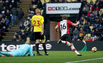 WATFORD, ENGLAND - JANUARY 13: James Ward-Prowse of Southampton celebrates his second goal during the Premier League match between Watford and Southampton at Vicarage Road on January 13, 2018 in Watford, England. (Photo by Matt Watson/Southampton FC via Getty Images)