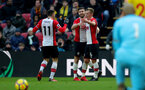 WATFORD, ENGLAND - JANUARY 13: James Ward-Prowse(R) of Southampton celebrates his second goal with Shane Long(centre) and Dusan Tadic(L) during the Premier League match between Watford and Southampton at Vicarage Road on January 13, 2018 in Watford, England. (Photo by Matt Watson/Southampton FC via Getty Images)