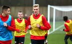 SOUTHAMPTON, ENGLAND - JANUARY 20: Christoph Klarer (middle) ahead of an U18 Premier League match between Southampton FC and Fulham FC at Staplewood Complex on January 230, 2018 in Southampton, England. (Photo by James Bridle - Southampton FC/Southampton FC via Getty Images)