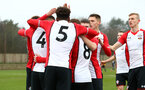 SOUTHAMPTON, ENGLAND - JANUARY 20: Southampton FC Players celebrate after Harry Hamblin scores during an U18 Premier League match between Southampton FC and Fulham FC at Staplewood Complex on January 230, 2018 in Southampton, England. (Photo by James Bridle - Southampton FC/Southampton FC via Getty Images)