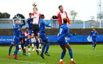 SOUTHAMPTON, ENGLAND - JANUARY 27: Christoph Klarer heads the ball (left) during the match between Southampton FC and Leicester FC U18s at Leicester FC Training ground on January 27, 2018 in Southampton, England. (Photo by James Bridle / Southampton FC via Getty Images)