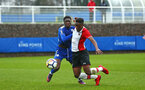 SOUTHAMPTON, ENGLAND - JANUARY 27: Jonathan Afolabi (right) goes down during the match between Southampton FC and Leicester FC U18s at Leicester FC Training ground on January 27, 2018 in Southampton, England. (Photo by James Bridle / Southampton FC via Getty Images)