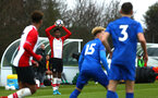 SOUTHAMPTON, ENGLAND - JANUARY 27: Kanye Ramsay (left) during the match between Southampton FC and Leicester FC U18s at Leicester FC Training ground on January 27, 2018 in Southampton, England. (Photo by James Bridle / Southampton FC via Getty Images)