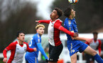 SOUTHAMPTON, ENGLAND - JANUARY 27: Enzo Robise (Left) during the match between Southampton FC and Leicester FC U18s at Leicester FC Training ground on January 27, 2018 in Southampton, England. (Photo by James Bridle / Southampton FC via Getty Images)