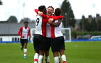 SOUTHAMPTON, ENGLAND - JANUARY 27: Jonathan Afolabi scores and celebrates (left) Harry Hamblin (middle) Enzo Robise (right) during the match between Southampton FC and Leicester FC U18s at Leicester FC Training ground on January 27, 2018 in Southampton, England. (Photo by James Bridle / Southampton FC via Getty Images)