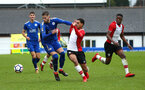 SOUTHAMPTON, ENGLAND - JANUARY 27: Chris Norton (middle) during the match between Southampton FC and Leicester FC U18s at Leicester FC Training ground on January 27, 2018 in Southampton, England. (Photo by James Bridle / Southampton FC via Getty Images)