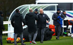 SOUTHAMPTON, ENGLAND - JANUARY 27: Craig Fleming shakes hands with Leicester FC U18s manager after winning during the match between Southampton FC and Leicester FC U18s at Leicester FC Training ground on January 27, 2018 in Southampton, England. (Photo by James Bridle / Southampton FC via Getty Images)
