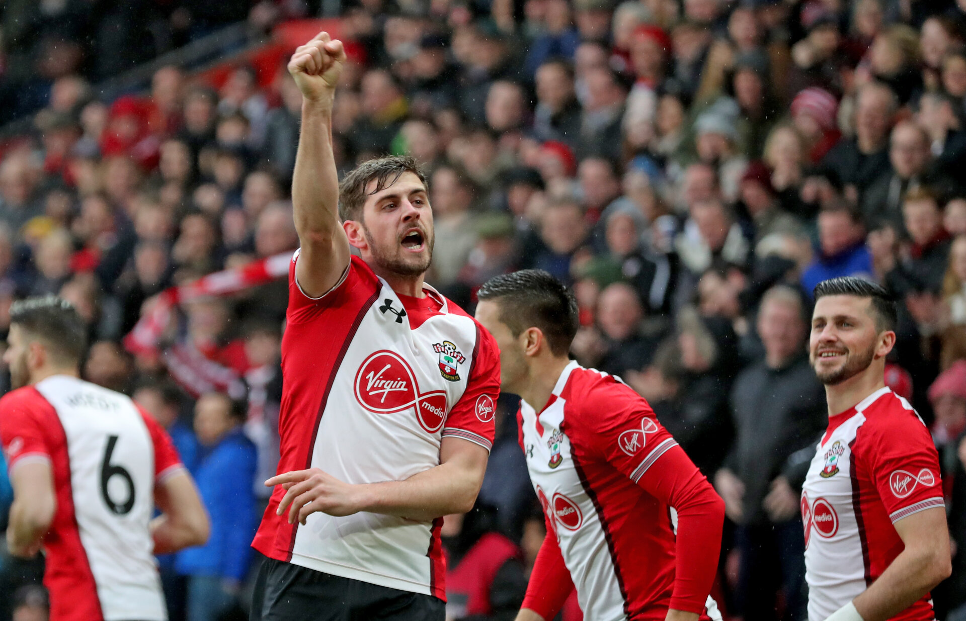 SOUTHAMPTON, ENGLAND - JANUARY 27: Jack Stephens of Southampton FC celebrates after opening the scoring during the FA Cup 4th round match between Southampton FC and Watford, at St Mary's Stadium on January 27, 2018 in Southampton, England. (Photo by Matt Watson/Southampton FC via Getty Images)