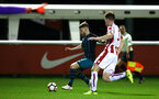 STOKE, ENGLAND - JANUARY 29: Josh Sims (left) during the match between Southampton FC and Stoke City FC U23s at St Georges Park Training Ground on January 29, 2018 in Southampton, England. (Photo by James Bridle / Southampton FC via Getty Images)