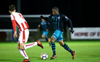 STOKE, ENGLAND - JANUARY 29: Michael Obafemi (Right) during the match between Southampton FC and Stoke City FC U23s at St Georges Park Training Ground on January 29, 2018 in Southampton, England. (Photo by James Bridle / Southampton FC via Getty Images)