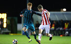 STOKE, ENGLAND - JANUARY 29: Will Wood (left) during the match between Southampton FC and Stoke City FC U23s at St Georges Park Training Ground on January 29, 2018 in Southampton, England. (Photo by James Bridle / Southampton FC via Getty Images)