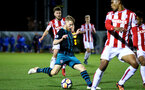 STOKE, ENGLAND - JANUARY 29: Josh Sims (middle) during the match between Southampton FC and Stoke City FC U23s at St Georges Park Training Ground on January 29, 2018 in Southampton, England. (Photo by James Bridle / Southampton FC via Getty Images)