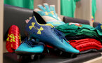 SOUTHAMPTON, ENGLAND - JANUARY 31: Under Armour product in the Southampton FC dressing room ahead of the Premier League match between Southampton and Brighton and Hove Albion at St Mary's Stadium on January 31, 2018 in Southampton, England. (Photo by Matt Watson/Southampton FC via Getty Images)