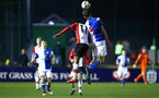 SOUTHAMPTON, ENGLAND - FEBRUARY 26: Nathan Tella (left) during the U23s match between Southampton FC and Blackburn FC, PLCup match on February 26, 2018 in Leyland in Blackburn, England. (Photo by James Bridle - Southampton FC/Southampton FC via Getty Images)