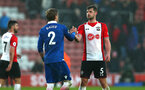 SOUTHAMPTON, ENGLAND - MARCH 03: Jack Stephens (right) shakes hands with Mortiz Bauer (left) after the final whistle is blown during the Premier League match between Southampton and Stoke City at St Mary's Stadium on March 3, 2018 in Southampton, England. (Photo by James Bridle - Southampton FC/Southampton FC via Getty Images)