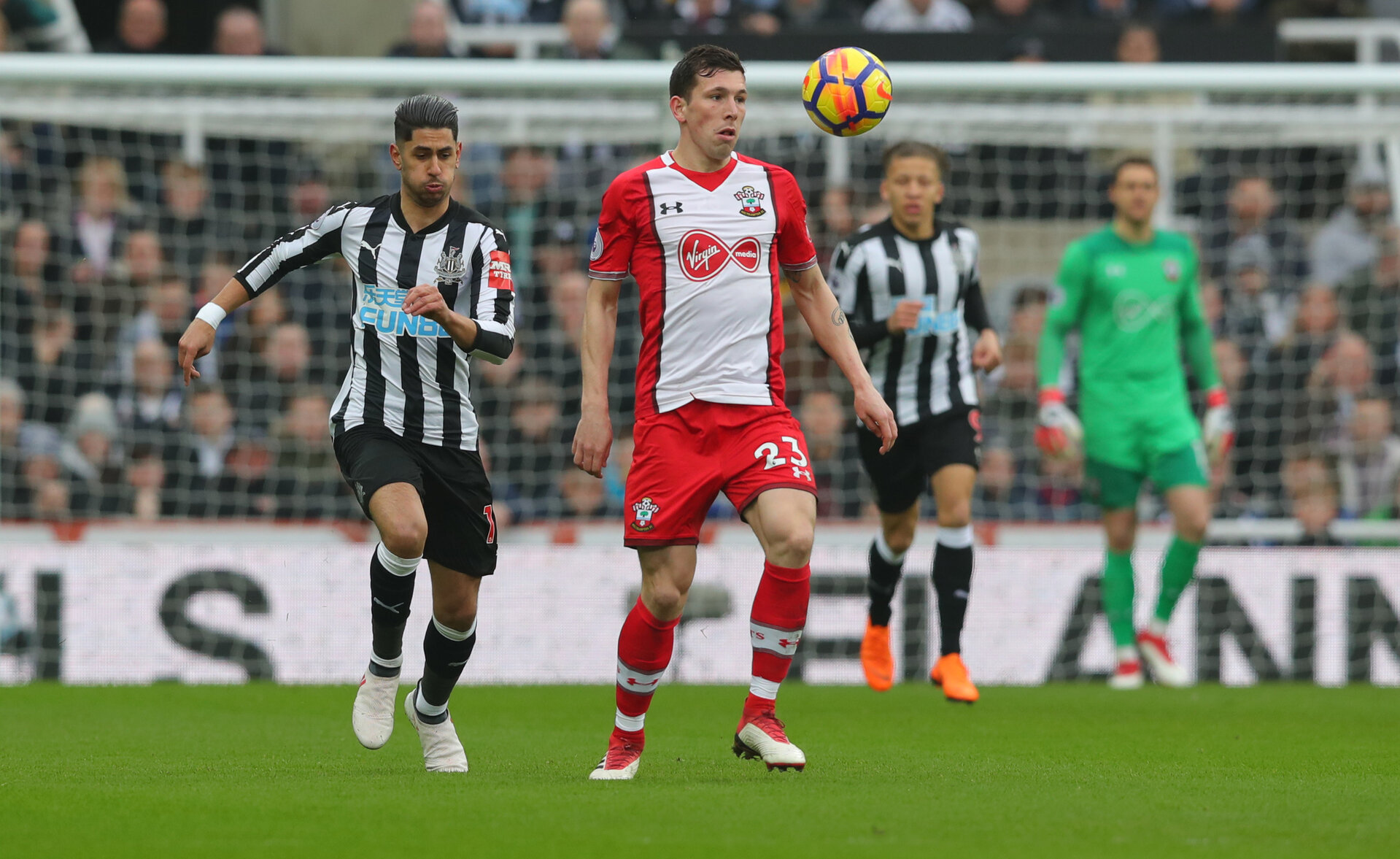 NEWCASTLE UPON TYNE, ENGLAND - MARCH 10: Pierre-Emile Hojbjerg of Southampton FC during the Premier League match between Newcastle United and Southampton at St. James Park on March 10, 2018 in Newcastle upon Tyne, England. (Photo by Matt Watson/Southampton FC via Getty Images)