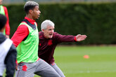 Gallery: Hughes's first training session