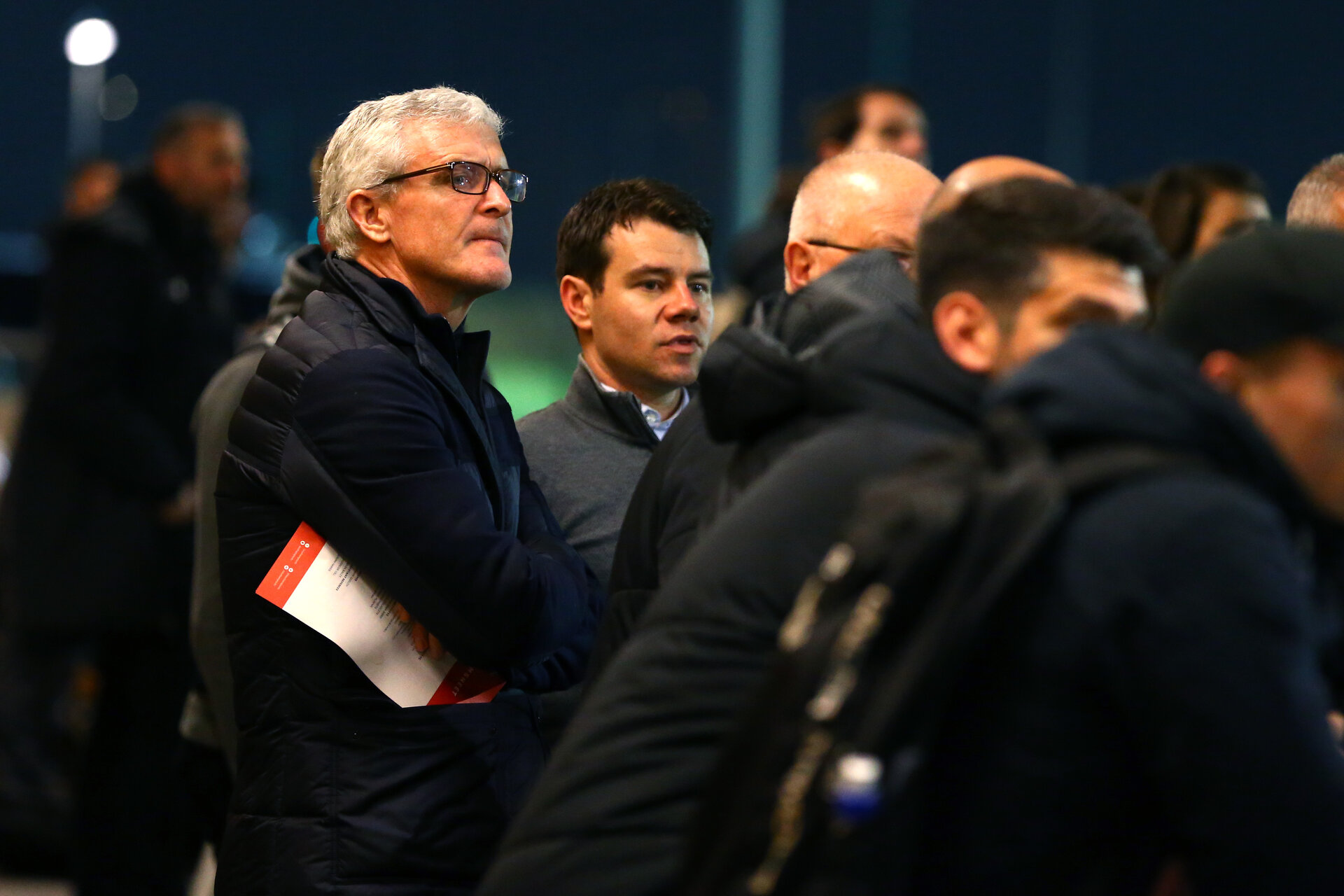 SOUTHAMPTON, ENGLAND - MARCH 16: Mark Hughes First Team Manager (left) comes to watch the U23s between Southampton FC and Leicester City FC at Staplewood Complex on March 16, 2018 in Southampton, England. (Photo by James Bridle - Southampton FC/Southampton FC via Getty Images)
