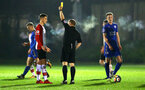 SOUTHAMPTON, ENGLAND - MARCH 16: Will  Smallbone (left) recieves a yellow card during the U23's match between Southampton FC and Leicester City FC at Staplewood Complex on March 16, 2018 in Southampton, England. (Photo by James Bridle - Southampton FC/Southampton FC via Getty Images)