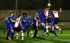 SOUTHAMPTON, ENGLAND - MARCH 16: Armarni Little (middle) goes for the header during the U23's match between Southampton FC and Leicester City FC at Staplewood Complex on March 16, 2018 in Southampton, England. (Photo by James Bridle - Southampton FC/Southampton FC via Getty Images)