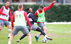 SOUTHAMPTON, ENGLAND - MARCH 20: Nathan Redmond(L) and Sam McQueen during a Southampton FC training session at the Staplewood Campus on March 20, 2018 in Southampton, England. (Photo by Matt Watson/Southampton FC via Getty Images)