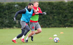 SOUTHAMPTON, ENGLAND - MARCH 20: Charlie Austin(L) and James Ward-Prowse during a Southampton FC training session at the Staplewood Campus on March 20, 2018 in Southampton, England. (Photo by Matt Watson/Southampton FC via Getty Images)