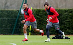 SOUTHAMPTON, ENGLAND - MARCH 29: Ryan Bertrand(L) and Manolo Gabbiadini(R) during a Southampton FC training session at the Staplewood Campus on March 29, 2018 in Southampton, England. (Photo by Matt Watson/Southampton FC via Getty Images)