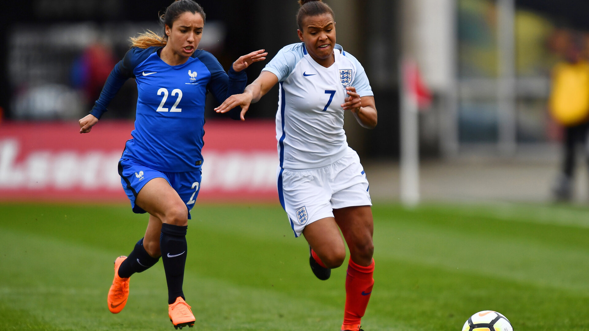 COLUMBUS, OH - MARCH 1:  Sakina Karchaoui #22 of France and Nikita Parris #7 of England battle for control of the ball on March 1, 2018 at MAPFRE Stadium in Columbus, Ohio. England defeated France 4-1.  (Photo by Jamie Sabau/Getty Images)