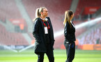 SOUTHAMPTON, ENGLAND - APRIL 06: Toni Duggan (middle) ahead of the Women's World Cup Qualifier match between England and Wales match at St Mary's Stadium on April 6, 2018 in Southampton, England. (Photo by James Bridle - Southampton FC/Southampton FC via Getty Images)