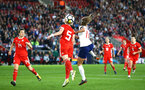 SOUTHAMPTON, ENGLAND - APRIL 06: LtoR Hayley Ladd, Rhiannon Roberts, Toni Duggan, during the Women's World Cup Qualifier match between England and Wales match at St Mary's Stadium on April 6, 2018 in Southampton, England. (Photo by James Bridle - Southampton FC/Southampton FC via Getty Images)
