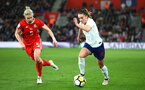 SOUTHAMPTON, ENGLAND - APRIL 06: LtoR Rhiannon Roberts, Melissa Lawley during the Women's World Cup Qualifier match between England and Wales match at St Mary's Stadium on April 6, 2018 in Southampton, England. (Photo by James Bridle - Southampton FC/Southampton FC via Getty Images)