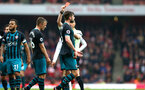 LONDON, ENGLAND - APRIL 08: Jack Stephens of Southampton FC (Middle) is given a Red card and sent off during the Premier League match between Arsenal and Southampton at Emirates Stadium on April 8, 2018 in London, England. (Photo by James Bridle - Southampton FC/Southampton FC via Getty Images)