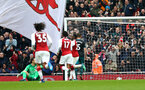 LONDON, ENGLAND - APRIL 08: Arsenal Celebrate after scoring during the Premier League match between Arsenal and Southampton at Emirates Stadium on April 8, 2018 in London, England. (Photo by James Bridle - Southampton FC/Southampton FC via Getty Images)