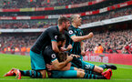 LONDON, ENGLAND - APRIL 08: L to R Jack Stephens, Charlie Austin, James Ward-Prowse and Oriol Romeu of Southampton celebrate during the Premier League match between Arsenal and Southampton at Emirates Stadium on April 8, 2018 in London, England. (Photo by Matt Watson/Southampton FC via Getty Images)