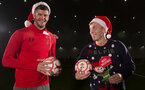 Southampton FC's Fraser Forster(L) and James Ward-Prowse participate in wishing the fans a Merry Christmas, pictured at the club's Staplewood Campus, 24th November 2017