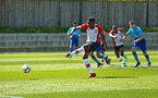 SOUTHAMPTON, ENGLAND - APRIL 18: Jonathan Afolabi denied a penalty during the U18 Premier League match between Southampton FC and Arsenal FC at Staplewood Complex on April 17, 2018 in Southampton, England. (Photo by James Bridle - Southampton FC/Southampton FC via Getty Images)