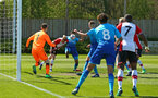 SOUTHAMPTON, ENGLAND - APRIL 18: Jamie Bradly-Green goes in for the header (middle) during the U18 Premier League match between Southampton FC and Arsenal FC at Staplewood Complex on April 17, 2018 in Southampton, England. (Photo by James Bridle - Southampton FC/Southampton FC via Getty Images)
