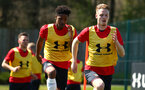 SOUTHAMPTON, ENGLAND - APRIL 18: LtoR Kanye Ramsay, Jamie Bradley-Green ahead of the U18 Premier League match between Southampton FC and Arsenal FC at Staplewood Complex on April 17, 2018 in Southampton, England. (Photo by James Bridle - Southampton FC/Southampton FC via Getty Images)