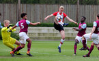 Christoph Klarer of Southampton looks to hook the ball goalwards during the U18 premier league match between Southampton and Aston Villa, at the Staplewood Campus, Southampton, 21st April 2018