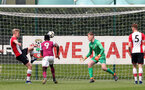 Christoph Klarer of Southampton clears off the line during the U18 premier league match between Southampton and Aston Villa, at the Staplewood Campus, Southampton, 21st April 2018