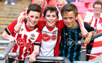 LONDON, ENGLAND - APRIL 22: Young Southampton FC fans ahead of the Emirates FA Cup Semi Final between Southampton FC and Chelsea FC at Wembley Stadium on April 22, 2018 in London, England. (Photo by James Bridle - Southampton FC/Southampton FC via Getty Images)