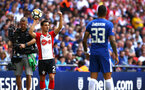 LONDON, ENGLAND - APRIL 22: Cedric makes a throw in for Southampton FC (left) during the Semi Final of the Emirates FA Cup between Southampton FC and Chelsea FC at Wembley Stadium on April 22, 2018 in London, England. (Photo by James Bridle - Southampton FC/Southampton FC via Getty Images)