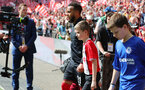 LONDON, ENGLAND - APRIL 22: Ryan Bertrand of Southampton leads the teams out with the match day mascot during the Emirates FA Cup Semi-Final between Chelsea and Southampton, at Wembley Stadium on April 22, 2018 in London, England. (Photo by Matt Watson/Southampton FC via Getty Images)